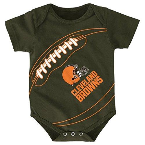 NFL Cleveland Browns Creeper, 18 Months, Brown Suede - Newborn Cleveland Browns Bib
