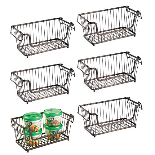 mDesign Modern Farmhouse Metal Wire Household Stackable Storage Organizer Bin Basket with Handles, for Kitchen Cabinets, Pantry, Closets, Bathrooms - 12.5