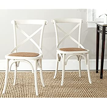 Safavieh American Homes Collection Franklin Farmhouse X Back Antique White  Side Chair (Set Of