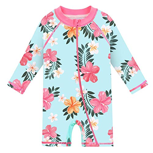 HUAANIUE Baby/Toddler Swimsuit Long Sleeve One-Piece Swimwear Rashguard Cyan 6-12 Months
