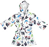 ST EVES BOYS BEACH SWIM COVER UP Hooded Terry Robe for Pool, Vacation, Bath, Pirates, White, XS 3/4
