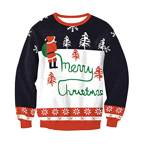 iLUGU Fashion Womens O-Neck Blouse Merry Christmas Santa Printed Patchwork Sweatshirt Pullover Tops (Vintage Glamour Sweatshirt)