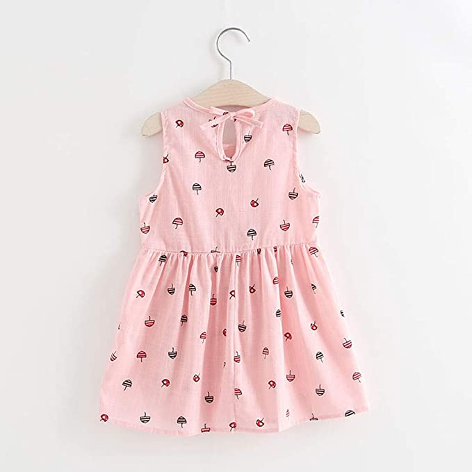 MOIKA Baby Girls Dresses, 2-7Years Old 1PC Kids Children Clothing Polka Dot Girl Chiffon Sundress Dress