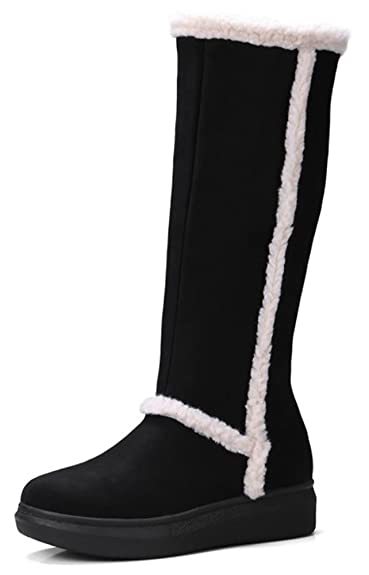 Women's Warm Comfy Round Toe Faux Suede Inside Zip Up Thick Sole Platform Flat Mid Calf Snow Boots