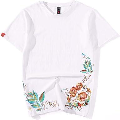 QIROG Camiseta de Loto Bordada-White_M: Amazon.es: Ropa y accesorios