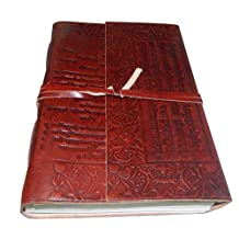 "M&N Brown Sanskrit Words Embossed Leather Journal Travel 8""x6"" Blank Pages Gift for Him Her"