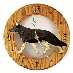 Michael Park Black with TAN Points German Shepherd Dog Wall Clock-Light Oak