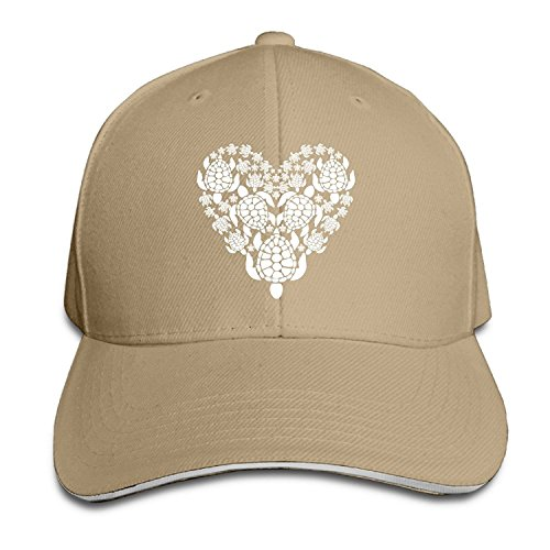 Fuerver Sea Turtle Heart Never Stops Beating Style Hats Sandwich Peaked Caps 4ef1da323189