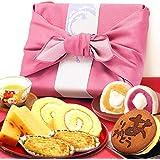 誕生日 プレゼント ギフト 人気スイーツギフトセット 竹籠入り風呂敷包 (ピンク色風呂敷)