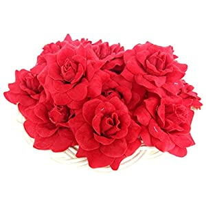 """(100) Silk Dark Red Roses Flower Head - 1.75"""" - Artificial Flowers Heads Fabric Floral Supplies Wholesale Lot for Wedding Flowers Accessories Make Bridal Hair Clips Headbands Dress 2"""