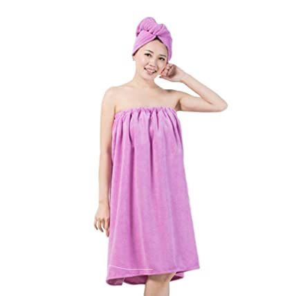 4eebbf6397 LifeWheel Women s Super Soft Absorbent Spa Towel Microfiber Bath Towel Wrap  with Dry Hair Shower Cap