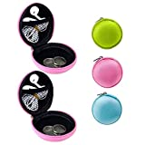 New 2 Pc Round Zipper Key Ring Chain Case Mini Purse Coin Change Wallet Bag