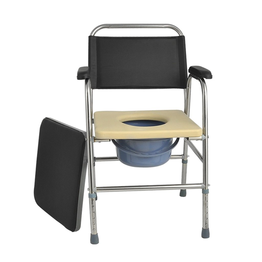 ポータブル折りたたみ高齢者ステンレススチール高さ調節可能な椅子の椅子とパッド付き障害のあるトイレの椅子滑り止めの手すり頑丈で丈夫なバスルームシャワーのスツールとバケツの携帯電話の妊娠中の女性のトイレシートMax.175kg B07DKT5KHV