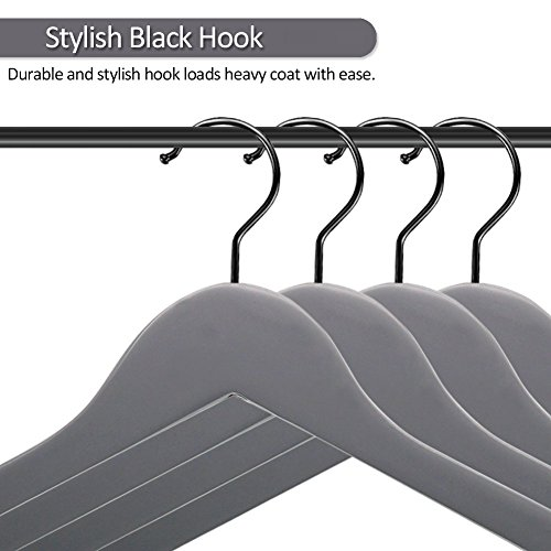 Perfecasa Grade A Solid Wood Hangers 20 Pack, Suit Hangers, Coat Hangers, Premium Quality Wooden Hangers (Gray) by Perfecasa (Image #1)