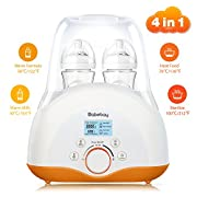 Baby Bottle Warmer, Bottle Sterilizer & Smart Thermostat 4-in-1 with Evenly Warming Breast Milk or Formula, Real-time Temperature LCD Monitor, fit most of baby bottles[2018 MOST GENIUS GIFTS]