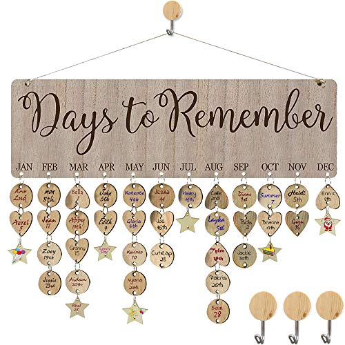 HyiC Christmas Gifts for Moms Dads Wooden Perpetual Birthday Reminder Calendar Board Wall Hanging [Days to Remember Sayings Pattern] for Home Office Classroom Wall Decor DIY Birthday Presents (Gifts Mom Diy Christmas For)