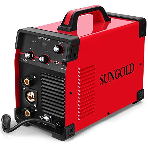- SUNGOLDPOWER 200Amp MIG MAG ARC MMA Stick DC Welder 110/220V Dual Voltage IGBT Inverter 200A Aluminum Welding Soldering Machine Gas Shielded/Gasless Flux Cored Wire Solid Core Wire Welding Equipment