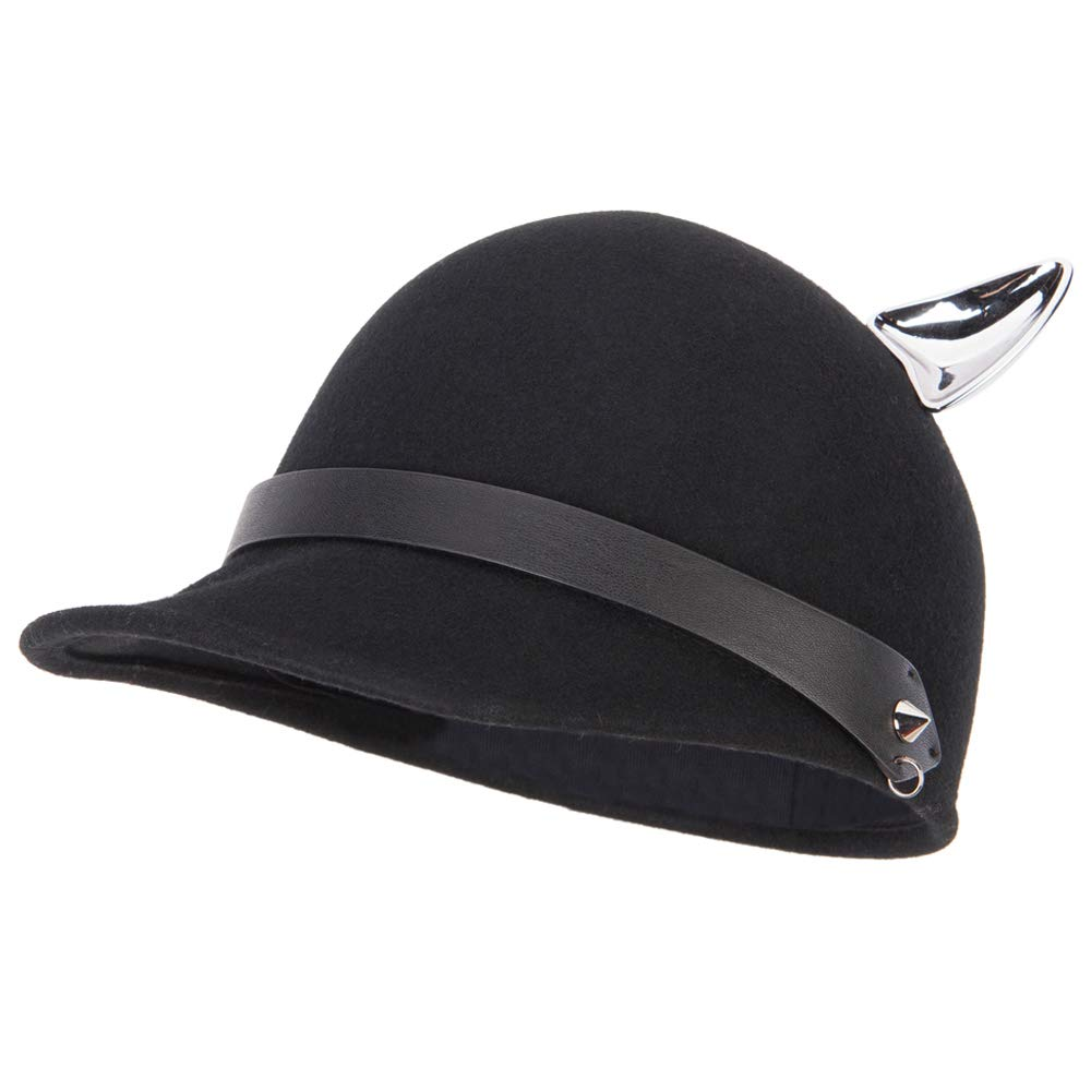 Jeanne Simmons Women's Silver Metal Ear Accent Wide Band Detailed with Chain Wool Newsboy Cap - Black OSFM by Jeanne Simmons