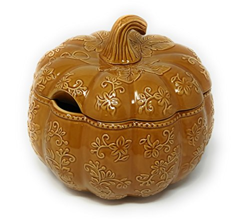 Temp-tations 4 qt Soup Tureen with Lid - Embossed Pumpkin, (Floral Lace Amber) - Floral Tureen