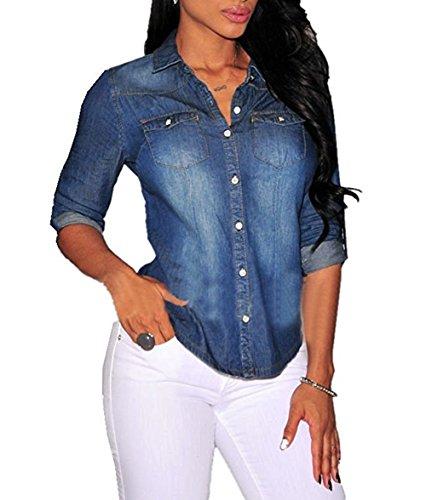 Denim Top Shirt (MAXIMGR Women Fashion Sexy Button Down Long Sleeve Lapel Denim Blouse Tops Shirt Size S(US 0-2)(Dark Blue))