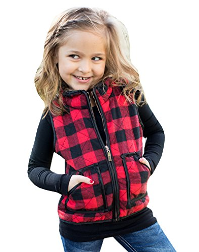 (Girls Buffalo Cotton Plaid Quilted Vest Cute Puff Lined Gilet Black)