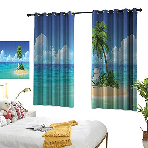 Warm Family Black Curtains Coastal Decor Collection,Desert Chaise Lounge Solitude Rest Holiday and Tropic Resort Beach Leisure Image,Navy Blue Green 72