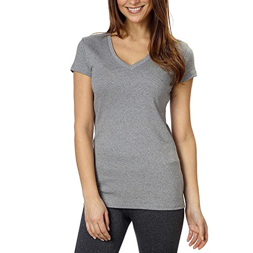Kirkland Signature Ladies Cotton V-neck Tee (Medium, White)