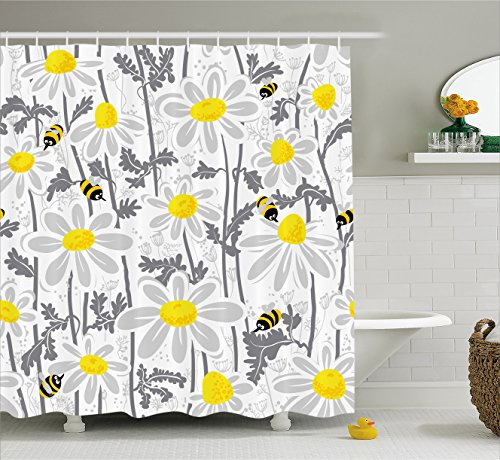 Daisy Flower Rug - Ambesonne Grey Decor Shower Curtain, Daisy Flowers with Bees in Spring Time Honey Petals Floret Nature Purity Bloom, Fabric Bathroom Decor Set with Hooks, 70 Inches, Yellow White