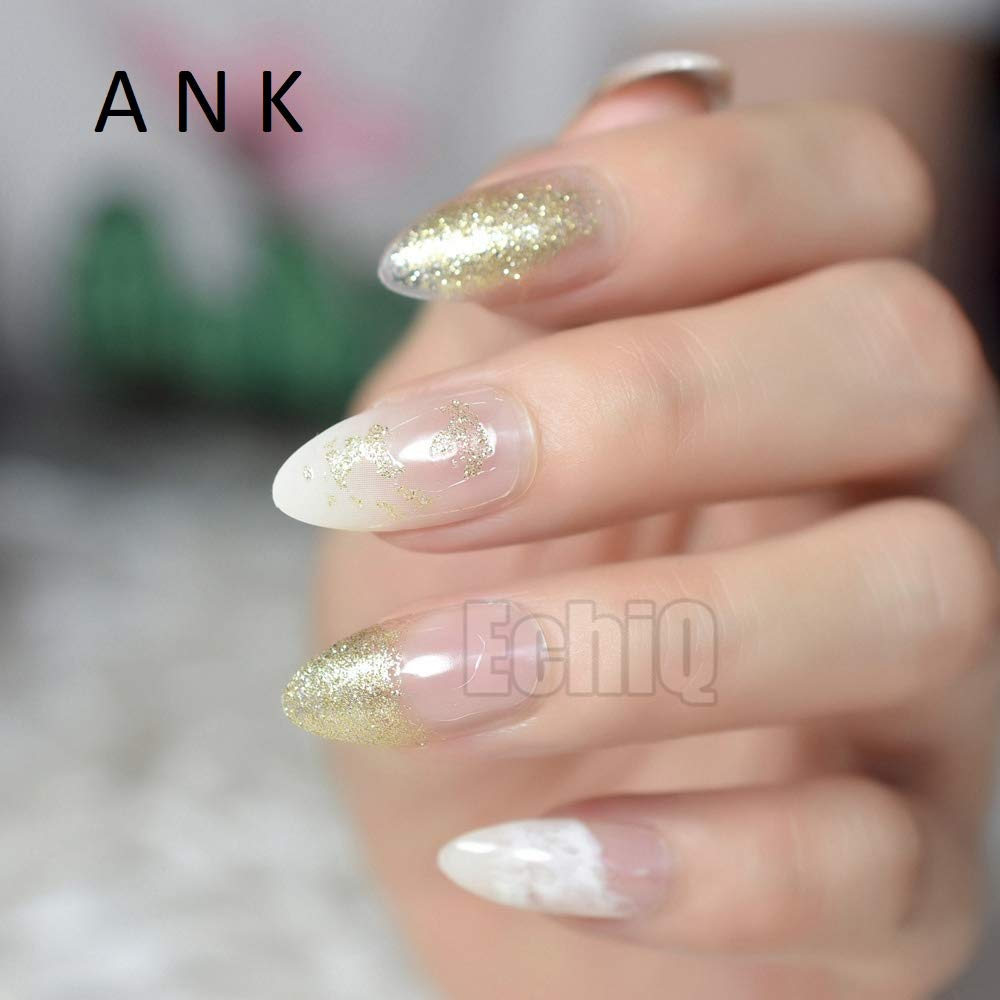24 uñas postizas Stiletto postizas de color blanco transparente con purpurina acrílica larga redonda natural: Amazon.es: Belleza