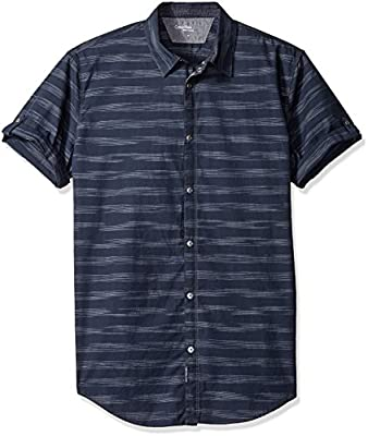 Calvin Klein Men's Short Sleeve Roll Tab Horizontal Space Stripe Button Down Shirt