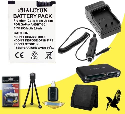 AHDBT-302 Halcyon 1500 mAH Lithium Ion Replacement AHDBT-301 Memory Card Wallet AHDBT-302 Battery and Charger Kit Deluxe Starter Kit for GoPro HERO3+ Black Edition Camera GoPro AHDBT-301 Multi Card USB Reader