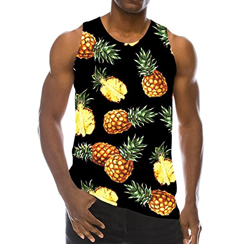 Fashion Outfit - Goodstoworld Plus Size Tanks Tops Hawaiian Pineapple Men Gay 3D Printed Graphic T-Shirts Casual Hipster Tops Tees Vacation Gift L