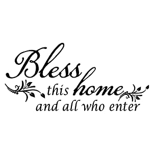 KYSUN Bless This Home and All who Enter Vinyl Wall Decal God Bless Quotes Flower Decoration Home DIY Entryway Christian Handwriting Art Letters Religious Motto Room Décor
