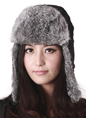 Pulinda Women's Chinchilla Rabbit Fur Hat Multicolor One Size