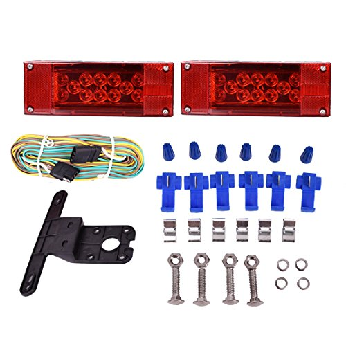 CZC AUTO 12V LED Low Profile Submersible Rectangular Trailer Light Kit Tail Stop Turn Running Lights for Boat Trailer Truck - Combination Marker Best Rite