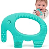 Baby Teething Toys - Adorable Turquoise Silicone Elephant Teether BPA Free - Best For Girl Or Boy Infant Newborn 3 6 12 Months 1 Year Old Cool Sensory Learning Baby Shower and Easter Gifts