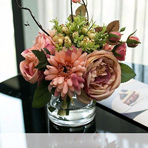 エミュレーション花フェイク花シルクフラワーバラアジサイボトルパッケージ化セットアップでリビングルームホームオフィスの装飾、H B078LWH1TH