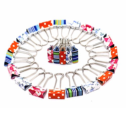 HUELE 24 pcs Lovely Mini Printing Style Metal Binder Clips, Paper Clips Clamps File Organizer