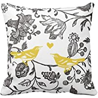 Trendy Yellow Gray and White Floral Bird Throw Pillow Cushion Cover Canvas 18 x 18 In