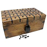 Nautical Cove Treasure Chest Wooden Box with Antique Iron Lock and Skeleton Key - Storage and Decor (X-Large 17 x 10 x 7.5)
