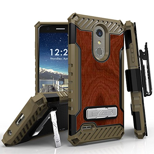 (LG K30 / K10 (2018) X410 / Premier Pro LTE/Phoenix Plus/Harmony 2 Case, TRISHIELD Armor Cover Belt Clip Holster and Built in Kickstand - Printed Wood Brown)