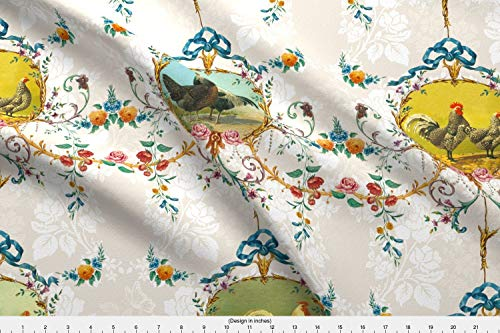 Spoonflower Chickens Fabric - Roosters Toile Vanilla Damask Rococo French Country - by Lilyoake Printed on Fleece Fabric by The Yard