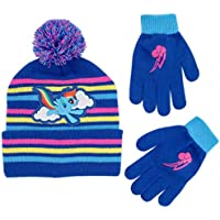 Hasbro Girls Little Pony Beanie Hat and Gloves Cold Weather Set, Blue, Age 4-7