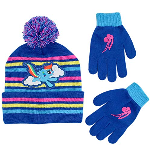 Hasbro Girls Little Pony Beanie Hat and Gloves Cold Weather Set, blue, Age 4-7 -