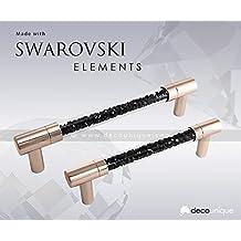 Swarovski Jet Black Crystal Tube Pull Handle, 5.08 inch by 0.91 inch, Rose Gold Finish, 828 L RG J