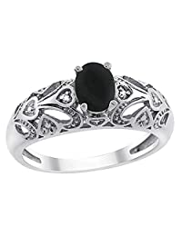 10K White Gold Natural Black Onyx Ring Oval 6x4 mm Diamond Accent, sizes 5 - 10