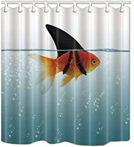 SZZWY Golden Fish Disguise with Shark Fin Deep in The Water Shower Curtains 3D Printing Waterproof Coated Polyester Fabric Bathroom with 12 Hooks 71 inches