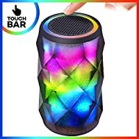 Bluetooth Speakers with Touch Bar, Tiamat Rainbow Beats Speaker with Built-in-Mic, 4-LED Mode, AUX Cable and TF Card Input, HD Sound and Bass for iPhone iPad Android Smartphone and More