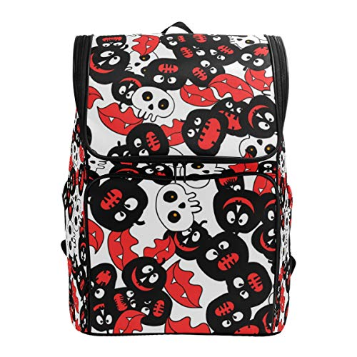 CANCAKA Backpack Halloween Party Colorful Seamless Pattern Randomly Lightweight Travel Bag Hiking Knapsack College Student School Bookbag Travel Daypack for men women -