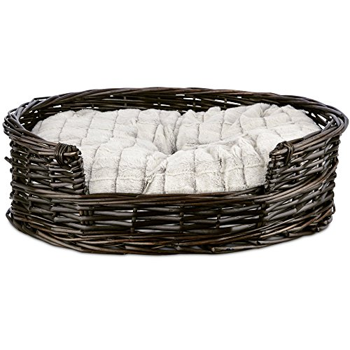 "HARMONY Wicker Cat Bed with Faux Fur Insert, 20.5"" L x 19"" W"